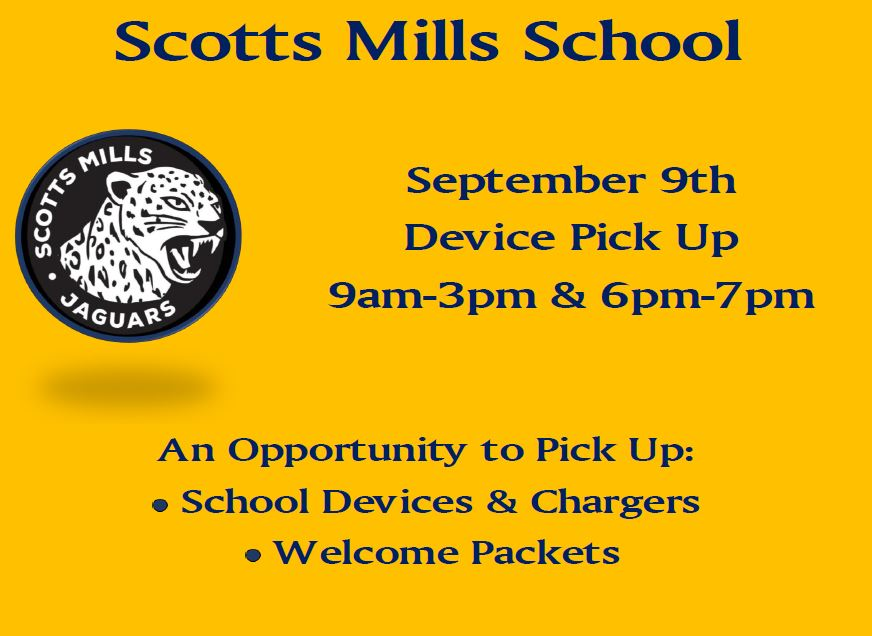 Sept 9th Start of School Year Device Pick Up